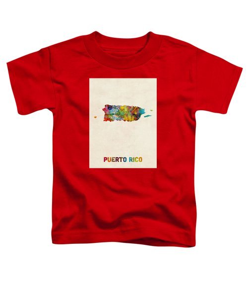 Puerto Rico Watercolor Map Toddler T-Shirt