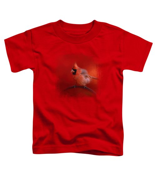 Radiant Red Bird Toddler T-Shirt by Jai Johnson