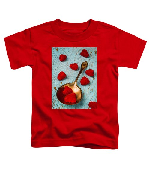 Raspberries With Antique Spoon Toddler T-Shirt by Garry Gay
