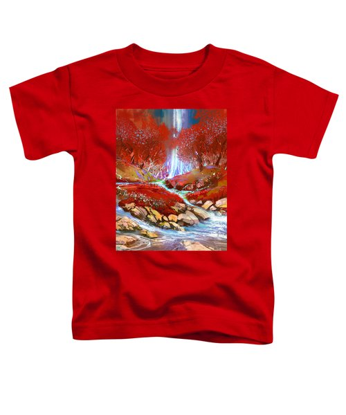 Toddler T-Shirt featuring the painting Red Forest by Tithi Luadthong