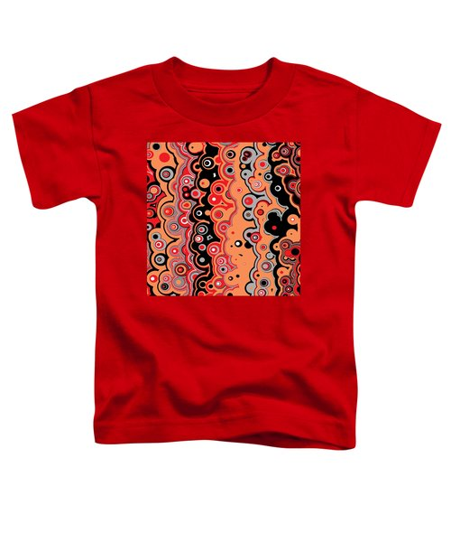 Toddler T-Shirt featuring the digital art Red Orange Black Targets And Lines by Joy McKenzie