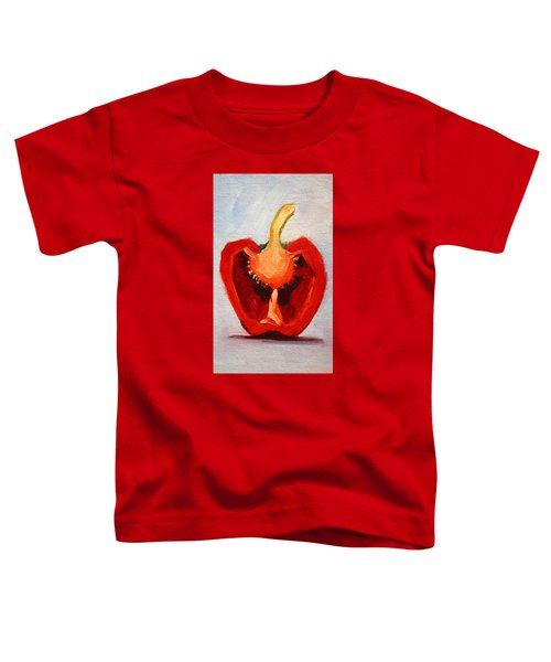 Toddler T-Shirt featuring the painting Red Pepper Sliced by Nancy Merkle