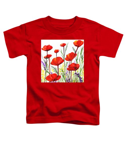 Toddler T-Shirt featuring the painting Red Poppies Art By Irina Sztukowski by Irina Sztukowski