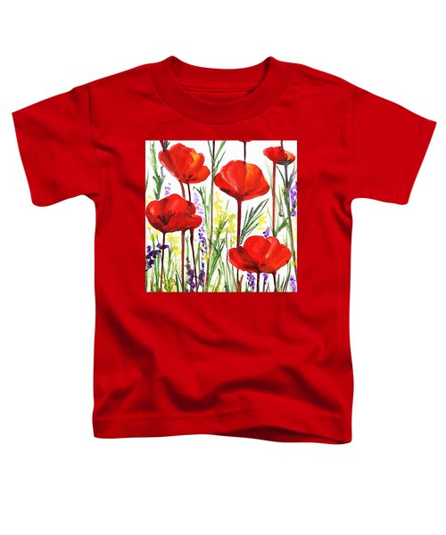 Toddler T-Shirt featuring the painting Red Poppies Watercolor By Irina Sztukowski by Irina Sztukowski