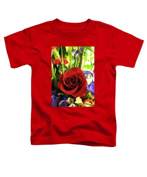 Red Rose And Flowers Toddler T-Shirt