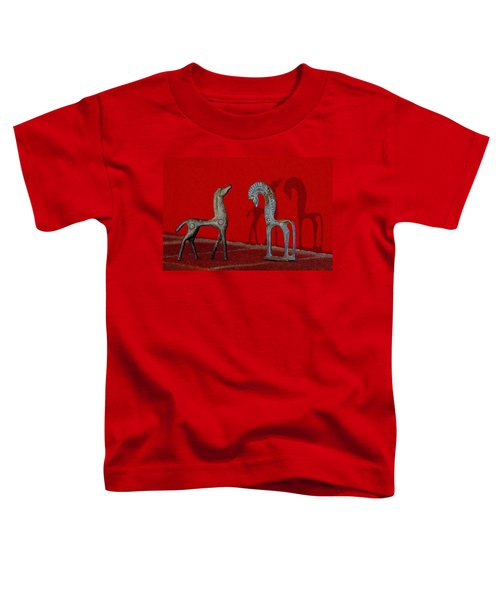 Red Wall Horse Statues Toddler T-Shirt