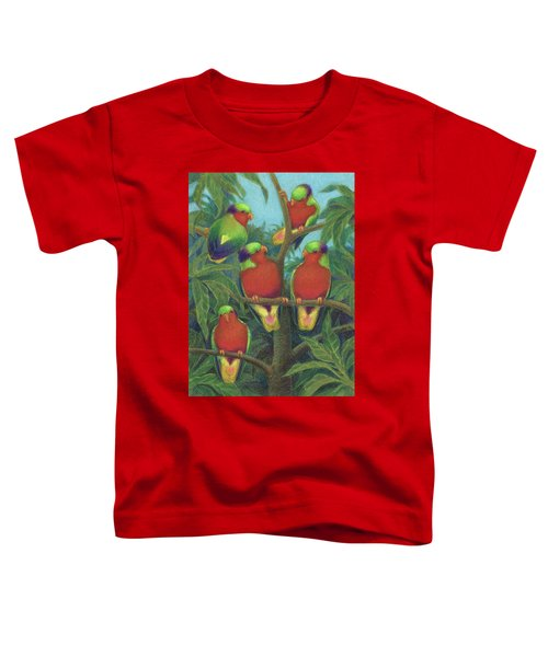 Toddler T-Shirt featuring the drawing Rimatara Lorikeets by Judith Kunzle