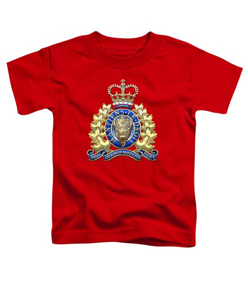 Royal Canadian Mounted Police - Rcmp Badge On Red Leather Toddler T-Shirt by Serge Averbukh