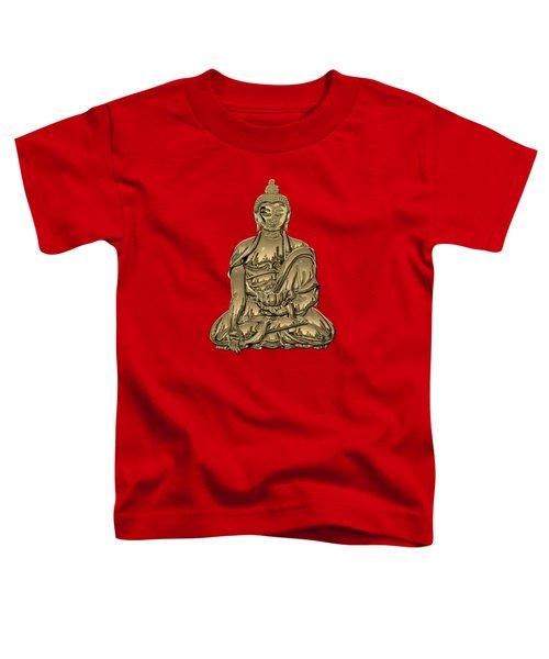 Sacred Symbols - Gold Buddha On Black And Red  Toddler T-Shirt