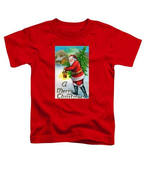 Santa Carrying A Christmas Tree Toddler T-Shirt