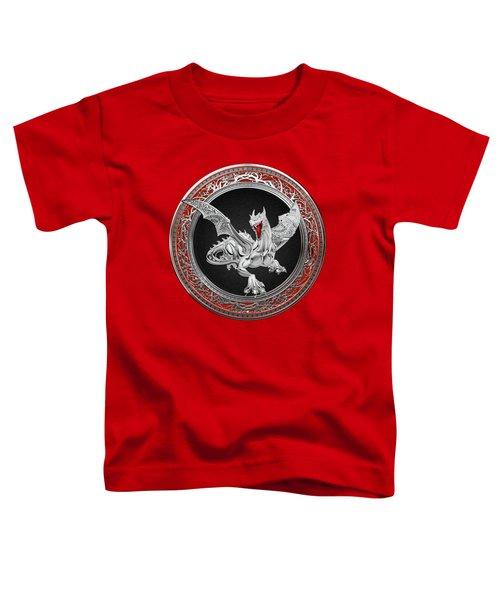 Silver Guardian Dragon Over Red Velvet  Toddler T-Shirt