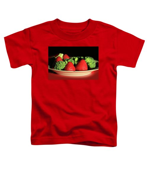 Strawberries And Broccoli Toddler T-Shirt by Lori Deiter