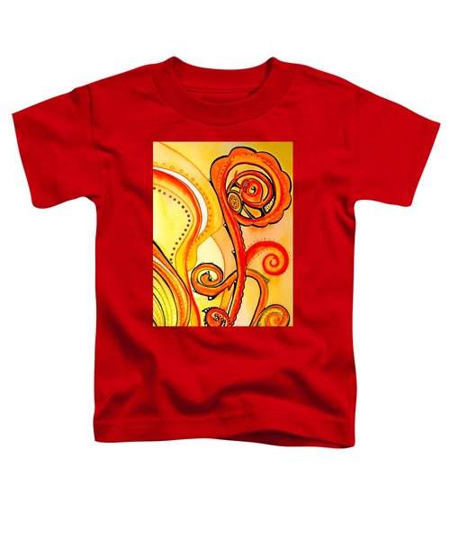 Toddler T-Shirt featuring the painting Sunny Flower - Art By Dora Hathazi Mendes by Dora Hathazi Mendes