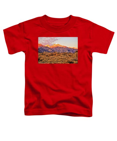 Supermoon Setting At Sunrise Over Mount Williamson In The Sierra Nevada Mountains Toddler T-Shirt