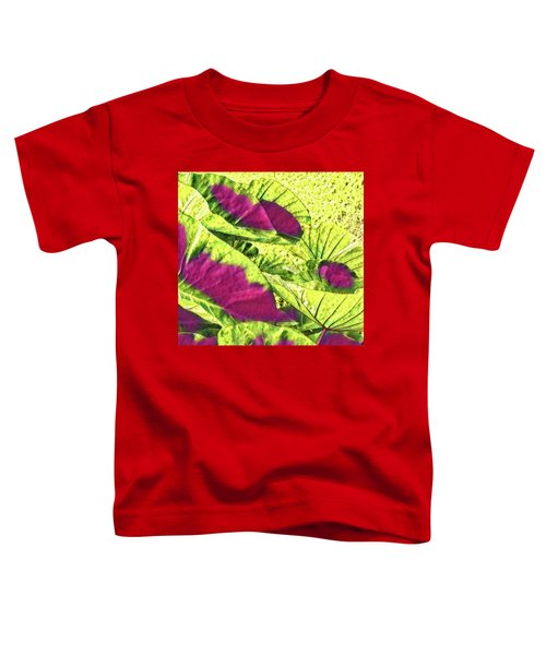 Taro Leaves In Green And Red Toddler T-Shirt