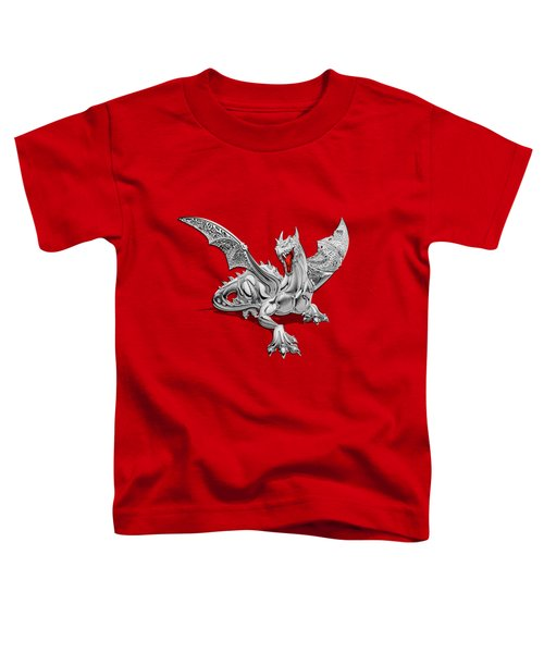 The Great Dragon Spirits - Silver Guardian Dragon On Black And Red Canvas Toddler T-Shirt by Serge Averbukh