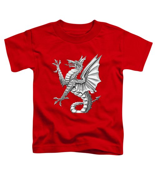 The Great Dragon Spirits - Silver Sea Dragon Over Red Canvas Toddler T-Shirt