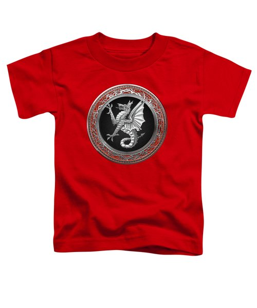 The Great Dragon Spirits - Silver Sea Dragon Over Red Velvet Toddler T-Shirt