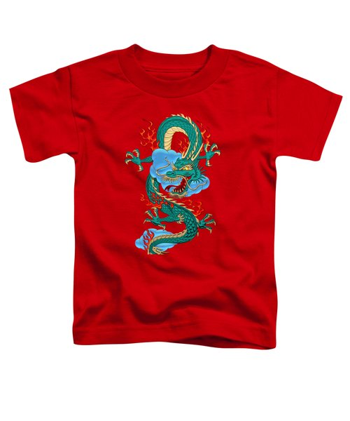 The Great Dragon Spirits - Turquoise Dragon On Red Silk Toddler T-Shirt by Serge Averbukh