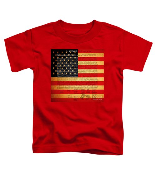 The United States Declaration Of Independence - American Flag - Square Toddler T-Shirt