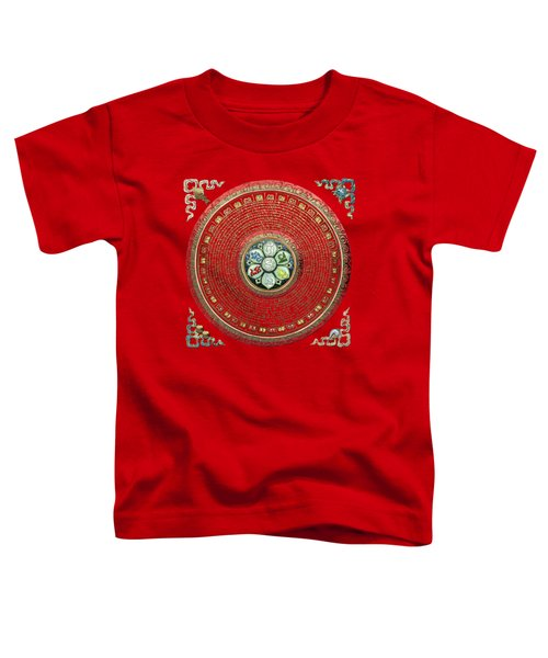 Tibetan Om Mantra Mandala In Gold On Black And Red Toddler T-Shirt