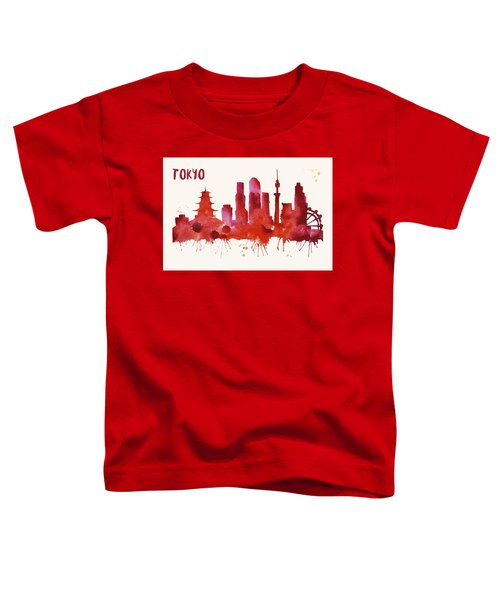 Tokyo Skyline Watercolor Poster - Cityscape Painting Artwork Toddler T-Shirt by Beautify My Walls