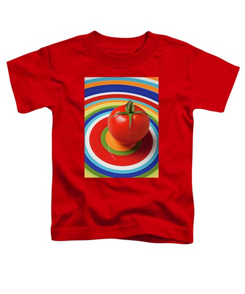 Tomato On Plate With Circles Toddler T-Shirt