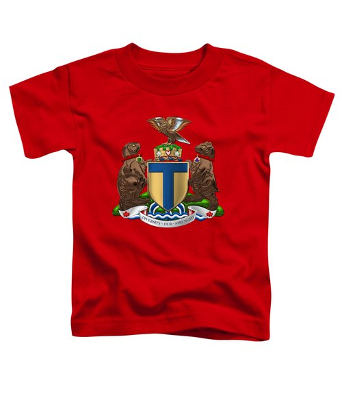 Toronto - Coat Of Arms Over Red Leather  Toddler T-Shirt
