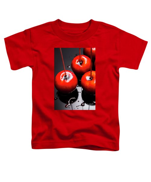 Trio Of Bright Red Home Made Candy Apples Toddler T-Shirt