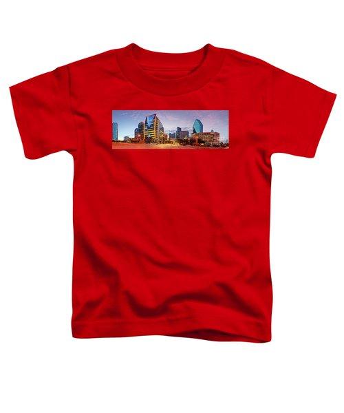 Twilight Panorama Of Downtown Dallas Skyline - North Akard Street Dallas Texas Toddler T-Shirt