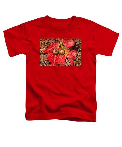 Two Acorns On Tatterd Maple Leaf Toddler T-Shirt