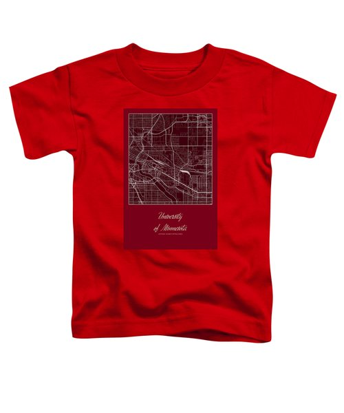 U Of M Street Map - University Of Minnesota Minneapolis Map Toddler T-Shirt by Jurq Studio
