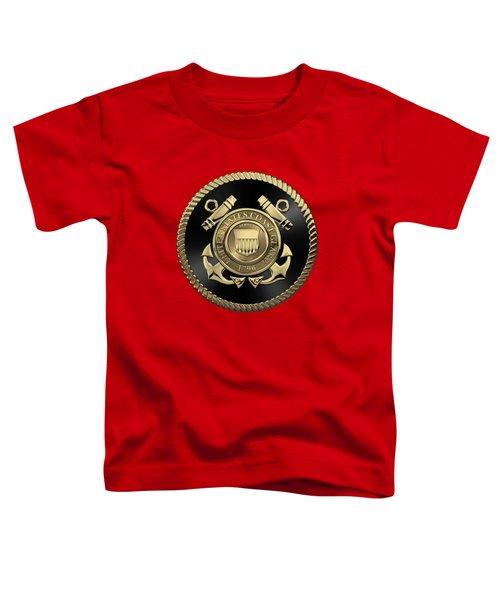 U. S.  Coast Guard  -  U S C G Emblem Black Edition Over Red Velvet Toddler T-Shirt