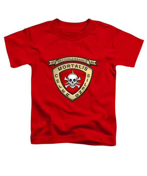 U S M C  3rd Reconnaissance Battalion -  3rd Recon Bn Insignia Over Red Velvet Toddler T-Shirt