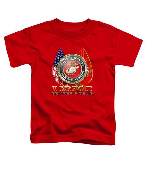 U. S. Marine Corps U S M C Emblem On Red Toddler T-Shirt