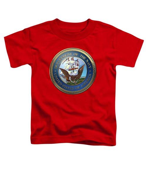 U. S.  Navy  -  U S N Emblem Over Red Velvet Toddler T-Shirt