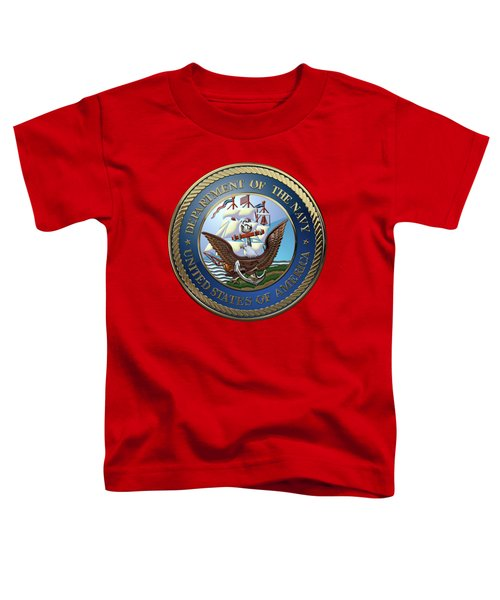 U. S.  Navy  -  U S N Emblem Over Red Velvet Toddler T-Shirt