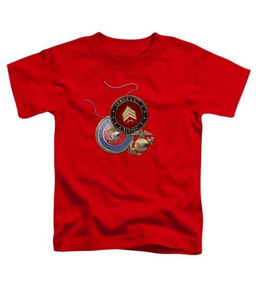 U. S. Marines Sergeant - U S M C  Sgt Rank Insignia Over Red Velvet Toddler T-Shirt