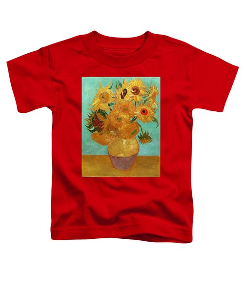 Toddler T-Shirt featuring the painting Vase With Twelve Sunflowers by Van Gogh