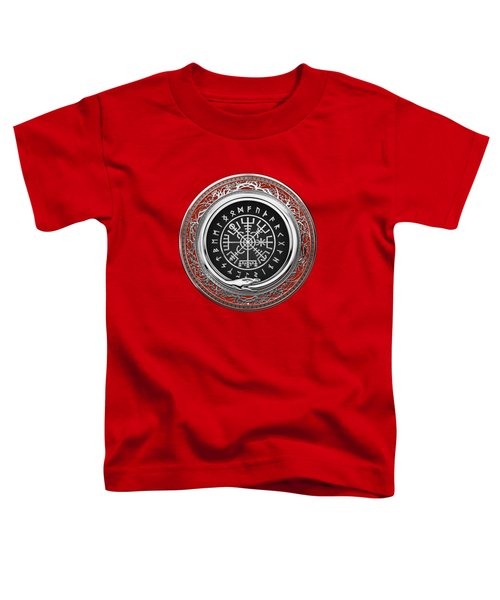 Vegvisir - A Silver Magic Viking Runic Compass On Red Leather  Toddler T-Shirt