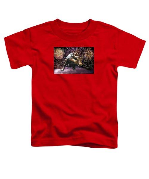 Wall Street Bull Fireworks Toddler T-Shirt