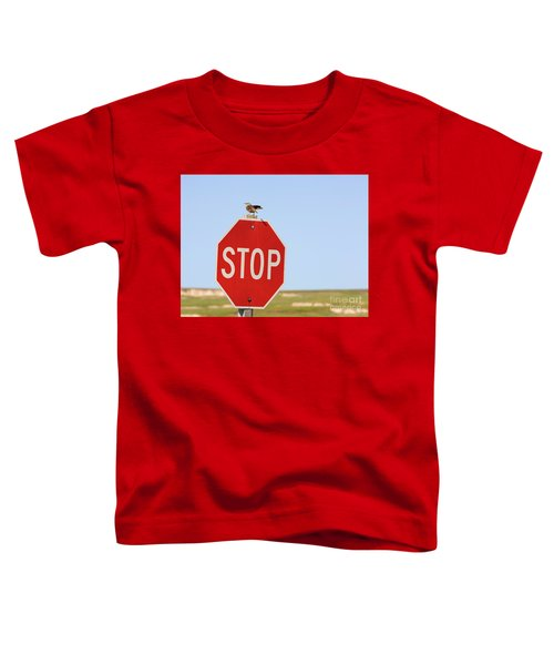 Western Meadowlark Singing On Top Of A Stop Sign Toddler T-Shirt by Louise Heusinkveld