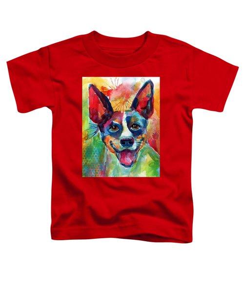 Whimsical Rat Terrier Dog Painting Toddler T-Shirt by Svetlana Novikova