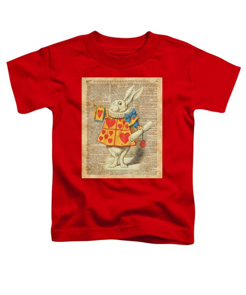 White Rabbit With Trumpet Alice In Wonderland Vintage Dictionary Artwork Toddler T-Shirt