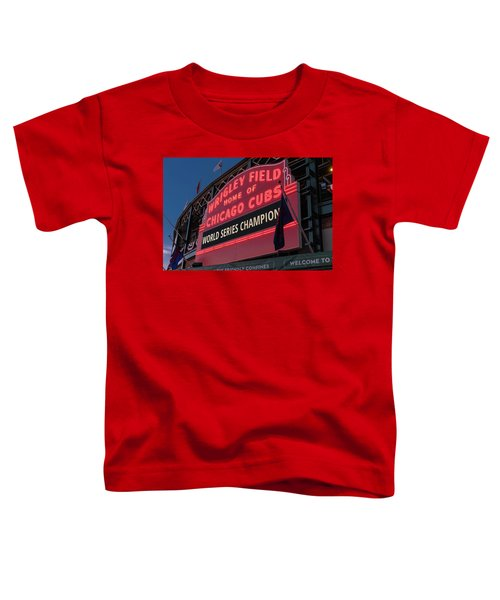 Wrigley Field World Series Marquee Toddler T-Shirt by Steve Gadomski