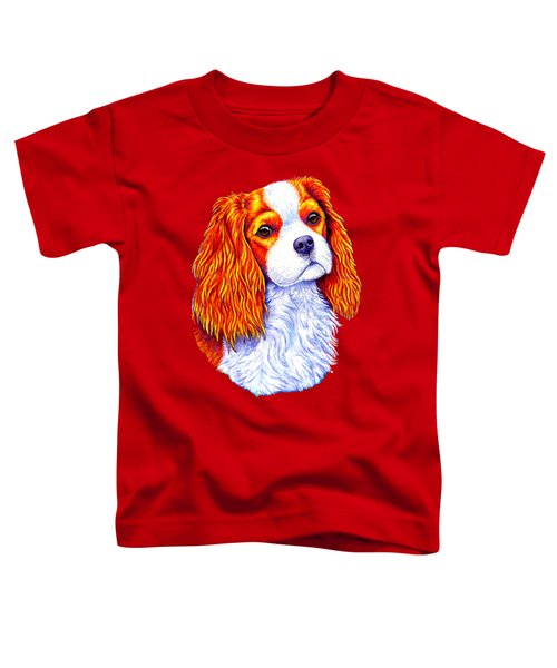 Colorful Cavalier King Charles Spaniel Dog Toddler T-Shirt