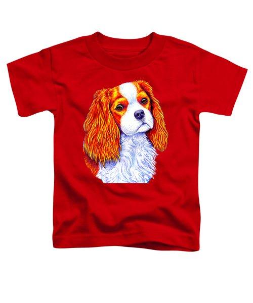 Colorful Cavalier King Charles Spaniel Dog Toddler T-Shirt