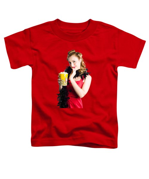Glamorous Woman Holding Popcorn Toddler T-Shirt