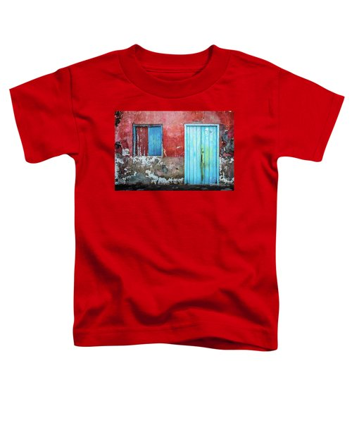 Red, Blue And Grey Wall, Door And Window Toddler T-Shirt