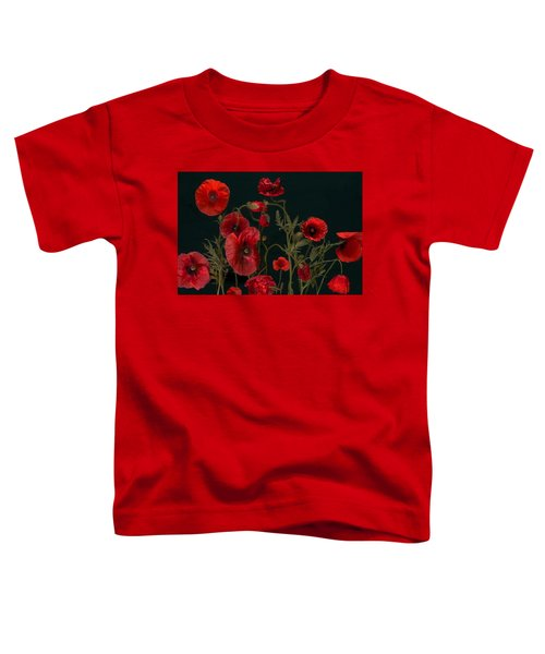 Red Poppies On Black Toddler T-Shirt